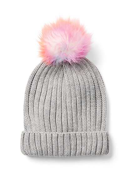 Grey Pom-Pom Hat - New York & Company