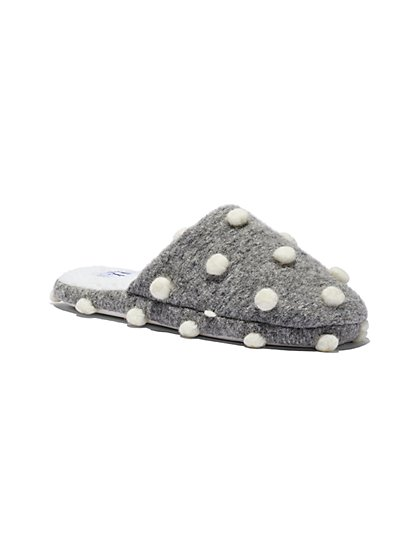 Grey Pom-Pom Slipper - New York & Company