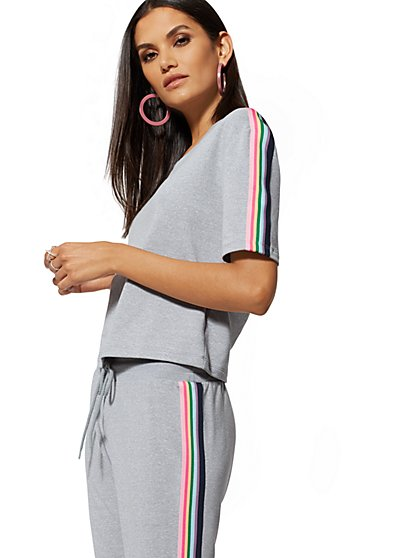 Grey Rainbow Stripe-Trim Sweatshirt - Soho Street - New York & Company