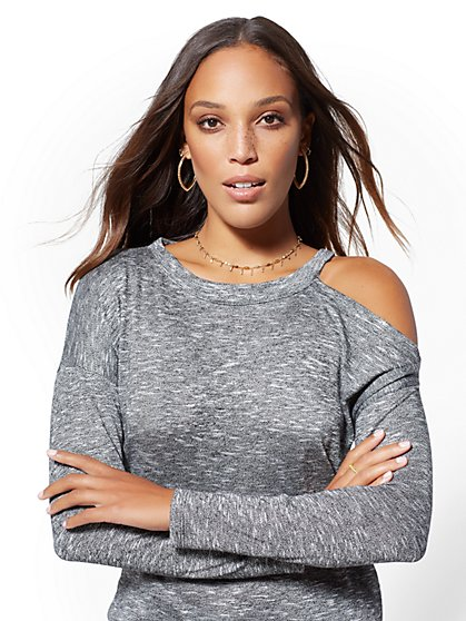 Grey Single Cold-Shoulder Top - New York & Company