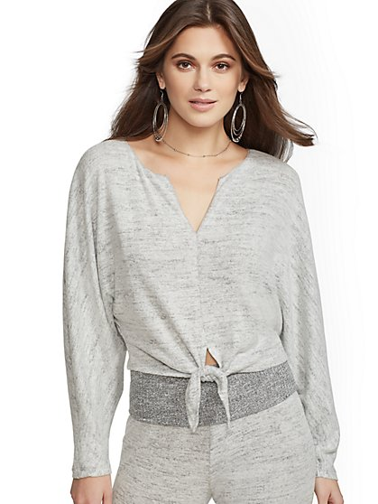 Grey Split-Neck Tie-Front Top - Soho Street - New York & Company