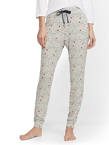 Grey String Lights Pajama Pant - New York & Company