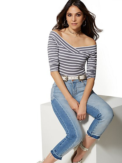 Grey Stripe Off-The-Shoulder Top - New York & Company