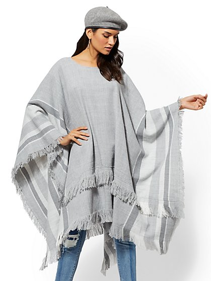 Grey Stripe Poncho - New York & Company