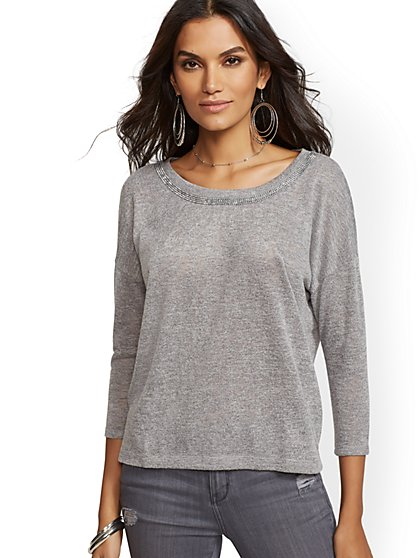 Grey Studded Tie-Back Hacci-Knit Top - New York & Company