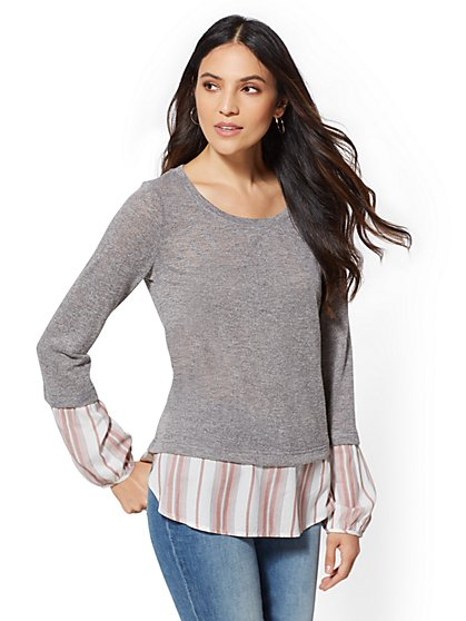 Grey Twofer Top - New York & Company