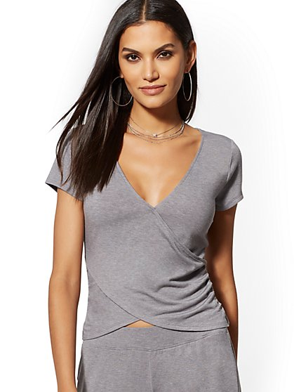 Grey V-Neck Wrap Tee - Soho Street - New York & Company