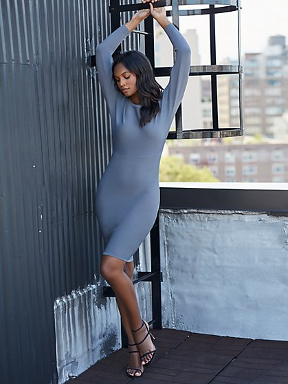 Grey Wrap-Back Sweater Sheath Dress - Gabrielle Union Collection - New York & Company