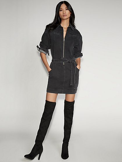 Grey Zip-Front Denim Shirtdress - Gabrielle Union Collection - New York & Company