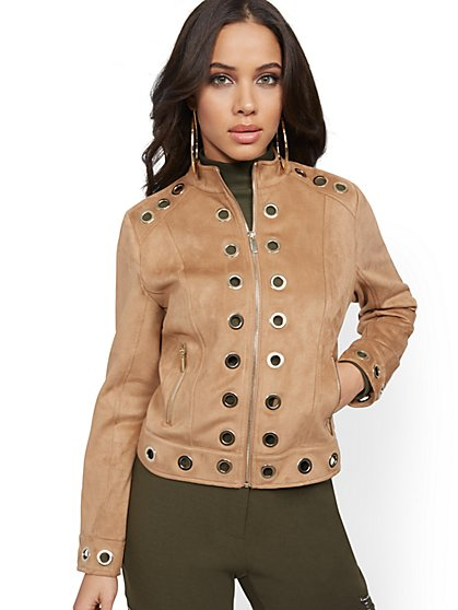 Grommet-Accent Faux-Suede Jacket - New York & Company