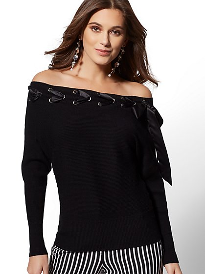 Grommet Lace-Up Off-the-Shoulder Sweater - 7th Avenue - New York & Company