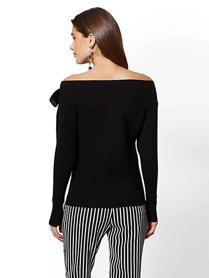 da5208c65f0 ... Grommet Lace-Up Off-the-Shoulder Sweater - 7th Avenue - New York ...