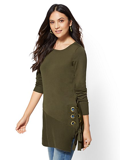 Grommet Lace-Up Tunic Sweater - New York & Company