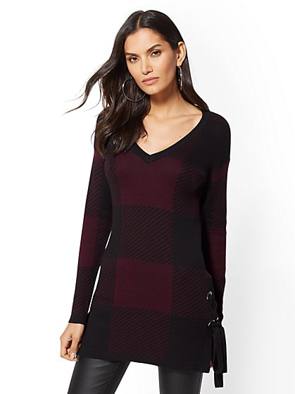 Grommet Lace-Up V-Neck Sweater - New York & Company