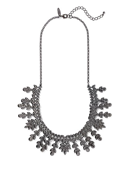 Gunmetal Beaded Bib Necklace - New York & Company