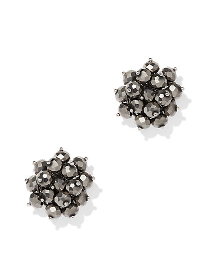 Gunmetal Beaded Cluster Post Earring - New York & Company