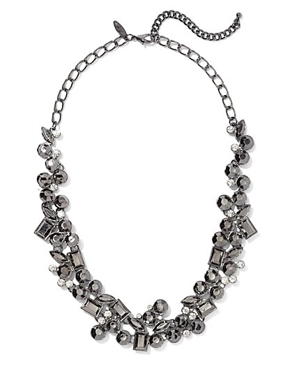 Gunmetal Beaded Statement Necklace - New York & Company