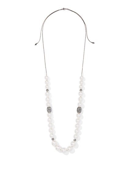 Gunmetal Faux-Pearl & Pave Necklace - New York & Company