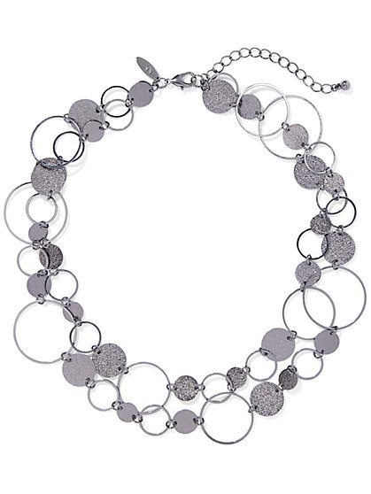 Gunmetal Glitter Collar Necklace - New York & Company