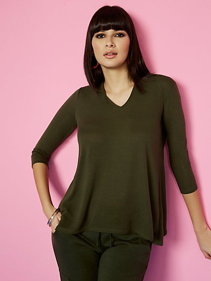 Hacci-Knit Hooded Top - Sweet Pea - New York & Company