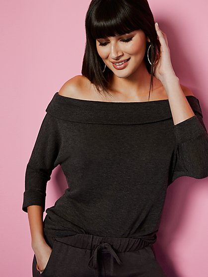 Hacci-Knit Off-The-Shoulder Top - Sweet Pea - New York & Company