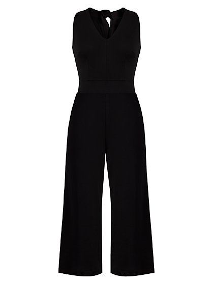 Halter Cotton Knit Jumpsuit - New York & Company