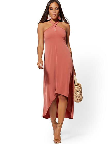 Halter Hi-Lo Maxi Dress - New York & Company