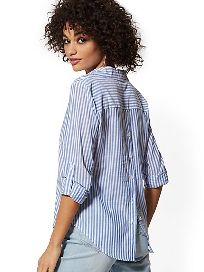 Hampton Slim - Stripe Shirt - Button Back - New York & Company