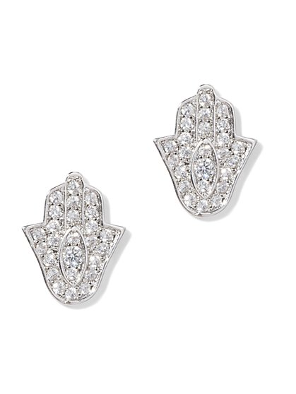 Hamsa Silvertone Cubic Zirconia Post Earring - New York & Company