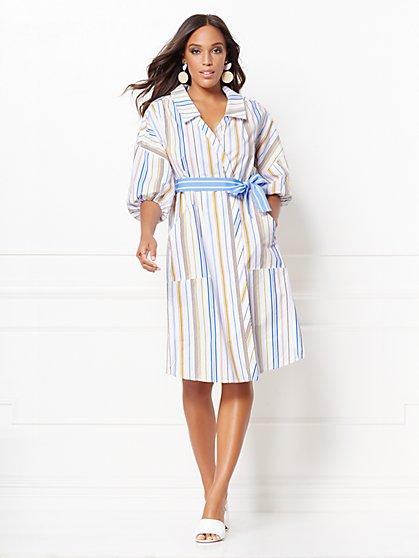 Hannah Stripe Poplin Shirtdress - Eva Mendes Collection - New York & Company