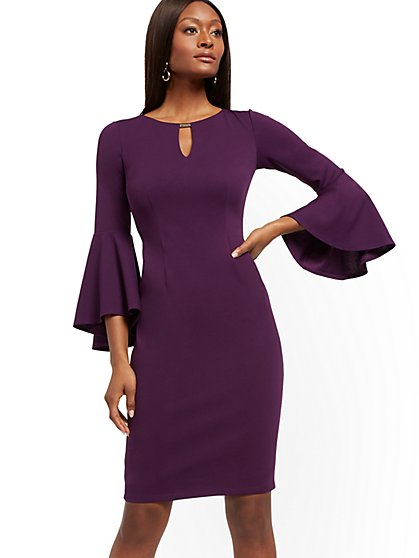 Hardware-Accent Bell-Sleeve Sheath Dress - Magic Crepe® - New York & Company