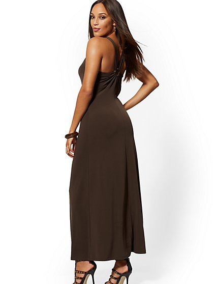 Hardware-Accent Halter Maxi Dress - New York & Company