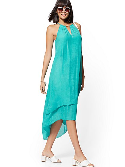 Hardware-Accent Hi-Lo Halter Maxi Dress - New York & Company