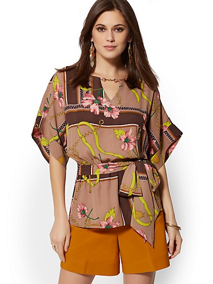 Hardware-Accent Mixed-Print Kimono Top - 7th Avenue - New York & Company