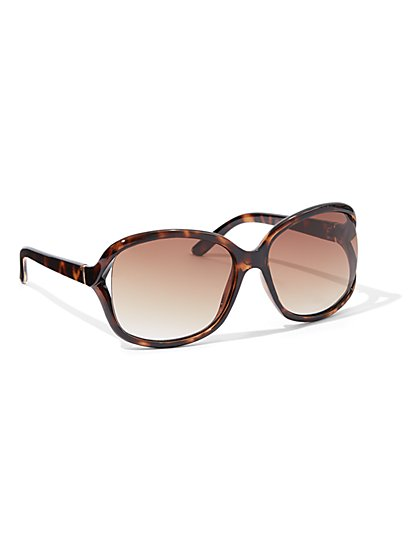 Hardware-Accent Open-Lens Sunglasses - New York & Company