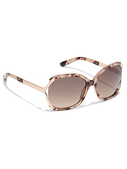 Hardware-Accent Oval Sunglasses - New York & Company