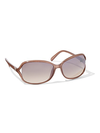 Hardware-Accent Rectangular Sunglasses - New York & Company