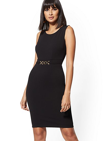 e4b97f996a Hardware-Accent Sheath Dress - Magic Crepe - New York & Company ...