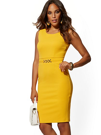 Hardware-Accent Sheath Dress - Magic Crepe - New York & Company