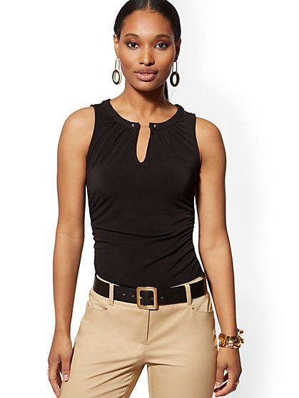 Hardware-Accent Sleeveless Top - 7th Avenue - New York & Company