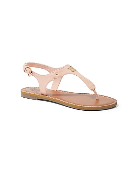 Hardware-Accent T-Strap Sandal - New York & Company