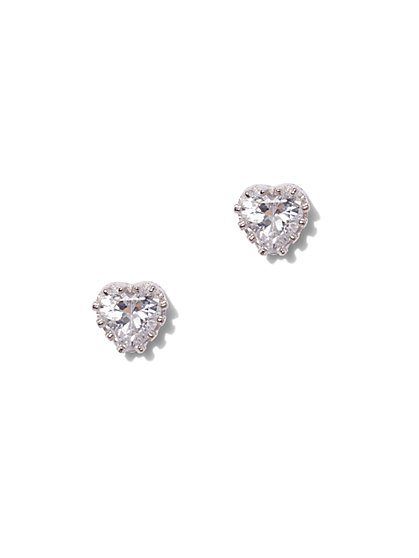 Heart Cubic Zirconia Sterling Silver Crown Post Earring - New York & Company