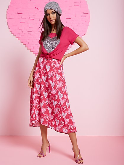 Heart Doodles Midi Skirt - New York & Company