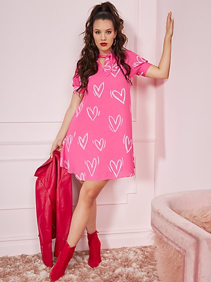 Heart-Print Bow-Accent Shift Dress - New York & Company