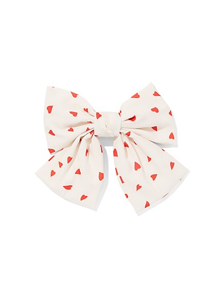 Heart-Print Bow Hair Clip - New York & Company