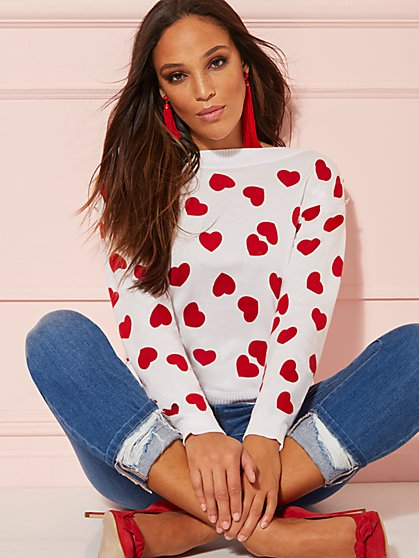 Heart-Print Button-Accent Sweater - New York & Company