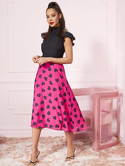 Heart-Print Midi Slip Skirt - New York & Company