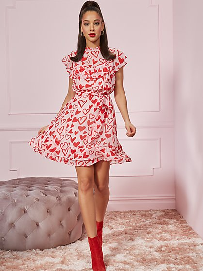 Heart-Print Ruffled Fit & Flare Dress - New York & Company