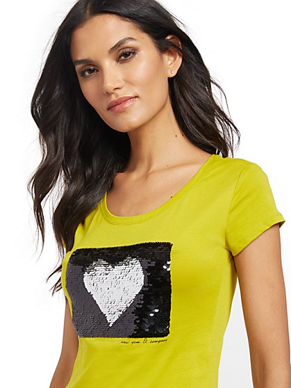 Heart Sequin Tee - New York & Company