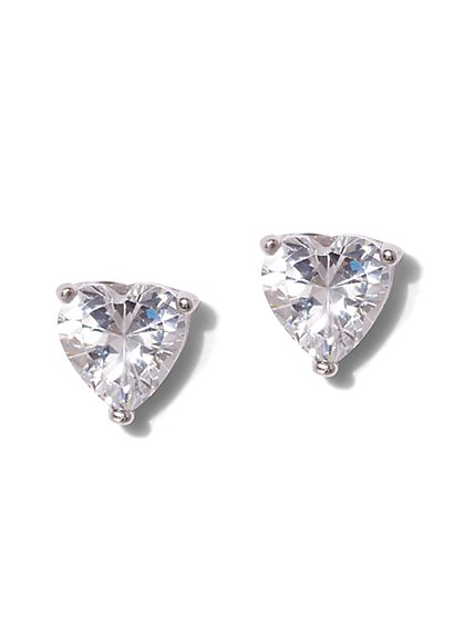 Heart-Shaped Cubic Zirconia Sterling Silver Post Earring - New York & Company